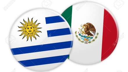 News Concept: Uruguay Flag Button On Mexico Flag Button, 3d illustration on white background