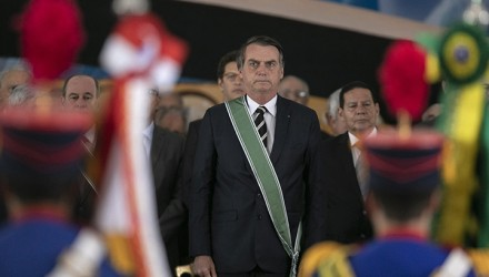 Brazilian President Jair Bolsonaro attends the swearing-in ceremony of Brazil's new Army chief, Edson Leal Pujol (out of frame), in Brasilia, on January 11, 2019. (Photo by Sergio LIMA / AFP)