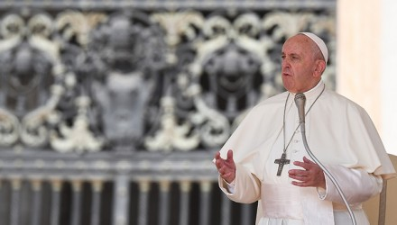 Pope Francis speaks during the weekly general audience on June 5, 2019 at St. Peter's square in the Vatican. (Photo by Vincenzo PINTO / AFP)