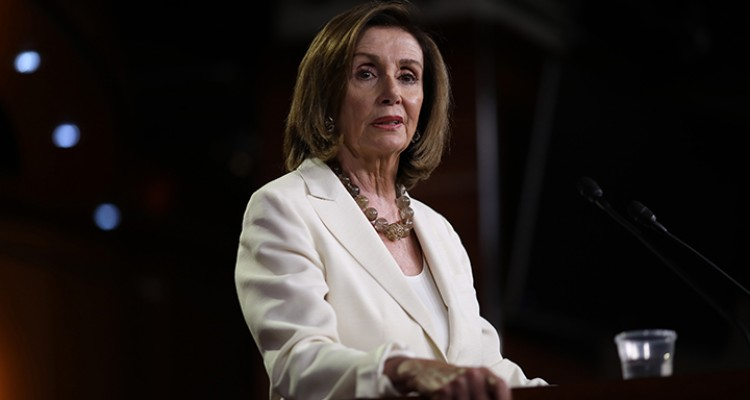 WASHINGTON, DC - JULY 11: Speaker of the House Nancy Pelosi (D-CA) answers questions during a press conference at the U.S. Capitol on July 11, 2019 in Washington, DC. Pelosi answered a range of questions including comments on a recent flap with Rep. Alexandria Ocasio-Cortez and more progressive members of the House Democratic caucus.   Win McNamee/Getty Images/AFP