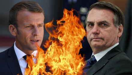 macron-bolsonaro on fire