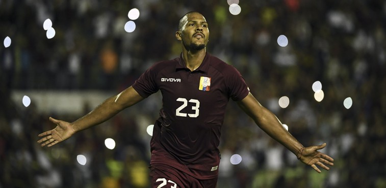 Salomon Rondon of Venezuela celebrates after scoring against Bolivia during an international friendly football match at the Olimpico stadium, in Caracas, on October 10, 2019. (Photo by YURI CORTEZ / AFP)