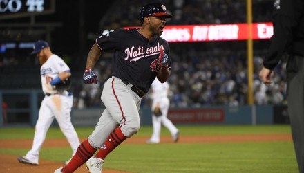 LOS ANGELES, CALIFORNIA - OCTOBER 09: Howie Kendrick #47 of the Washington Nationals celebrates after hitting a grand slam in the tenth inning of game five of the National League Division Series against the Los Angeles Dodgers at Dodger Stadium on October 09, 2019 in Los Angeles, California.   Harry How/Getty Images/AFP