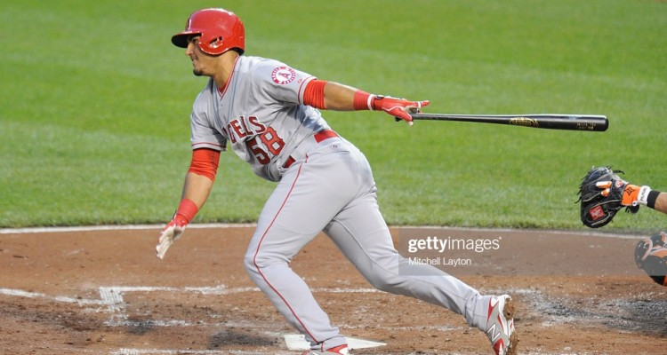 BALTIMORE, MD - MAY 15:  Carlos Perez #58 of the Los Angeles Angels of Anaheim takes a swing during a baseball game against the Baltimore Orioles at Oriole Park at Camden Yards on May 15, 2015 in Baltimore, Maryland.  The Angels won 3-1.  (Photo by Mitchell Layton/Getty Images)